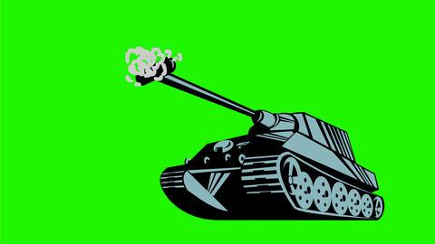 World War Two German Tank Firing Cannon 2D Animation Animation