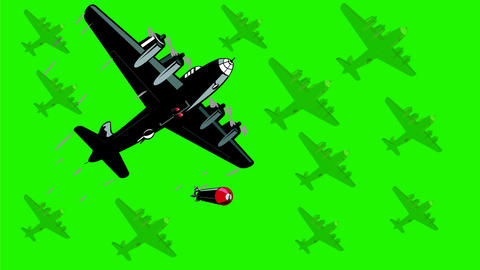 World War Two Bomber Dropping Bombs 2D Animation Stock Video Footage