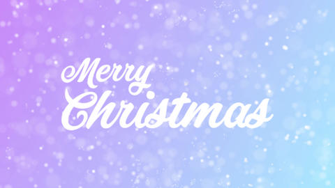 Merry Christmas Greeting card text with beautiful snow... Stock Video Footage