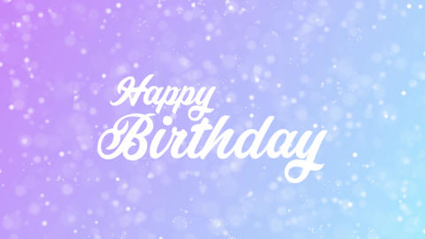 Happy Birthday Greeting card text with beautiful snow and stars particles Animation