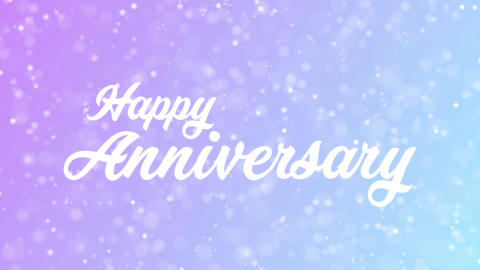 Happy Anniversary Greeting card text with beautiful snow and stars particles Animation