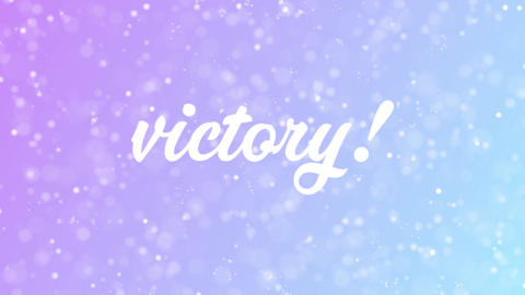 Victory Greeting card text with beautiful snow and stars particles Animation