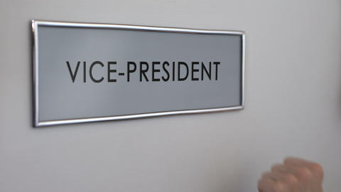 Vice-president office door, hand knocking closeup, business leader, politician Footage