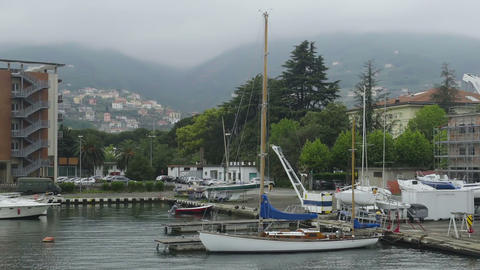Private yachts docked in Italian Spezia port, active tourism at Ligurian sea Footage