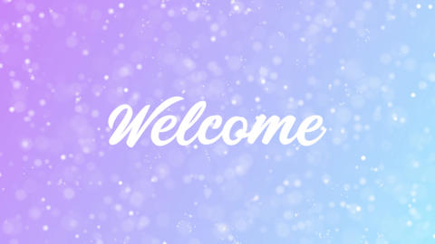 Welcome Greeting card text with beautiful snow and stars... Stock Video Footage