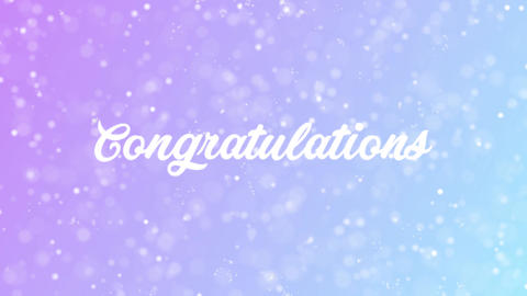 Congratulations Greeting card text with beautiful snow and stars particles Animation