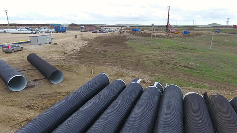Construction of the pipeline. Site construction. Construction machinery Footage