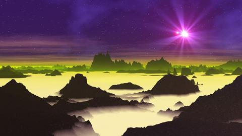 Star (UFO) over Alien Planet Animation