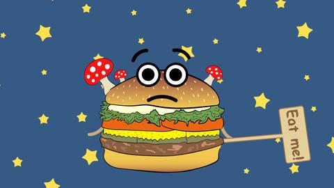 Cheeseburger and night stars Animation