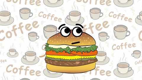 Cheeseburger and food back Animation