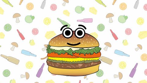 Cheeseburger and food background Animation