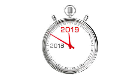 New Year 2019 Stopwatch (with Matte) Stock Video Footage