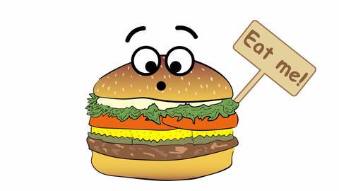Cheeseburger and slogan Animation