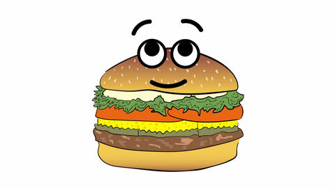 Cute cheeseburger on white Animation