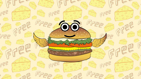 The flying cheeseburger and cheese Animation