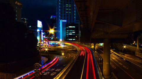 Night time lapse at Akasaka intersection wide shot slow shutter tilt up Live Action