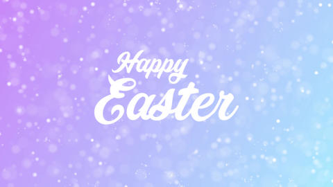 Happy Easter Greeting card text with beautiful snow and stars particles Animation