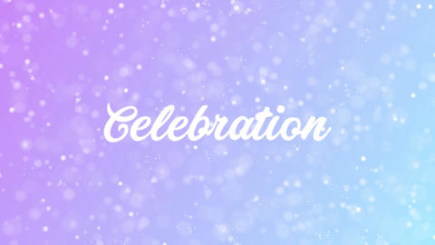 Celebration Greeting card text with beautiful snow and stars particles Animation