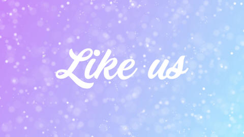 Like us Greeting card text with beautiful snow and stars particles Animation