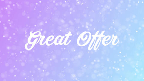 Great Offer Greeting card text with beautiful snow and stars particles Animation