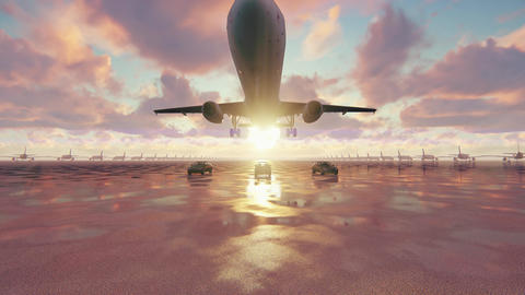 The plane takes off at sunrise accompanied by business cars in slow motion CG動画素材