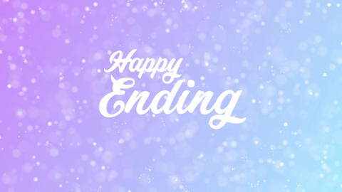 Happy Ending Greeting card text with beautiful snow and stars particles Animation
