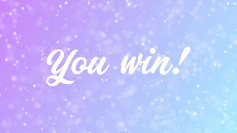 You win Greeting card text with beautiful snow and stars particles Animation