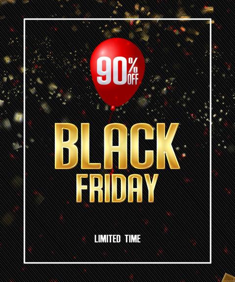 Black friday gold lettering banner discount sale. Black friday label promo Fotografía