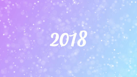 2018 Greeting card text with beautiful snow and stars particles Animation
