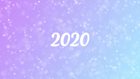 2020 Greeting card text with beautiful snow and stars particles Animation