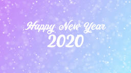 Happy New Year 2020 Greeting card text with beautiful snow and stars particles Animation