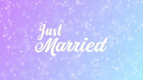 Just Married Greeting card text with beautiful snow and stars particles Animation