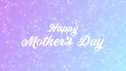Happy Mother's Day Greeting card text with beautiful snow and stars particles Animation
