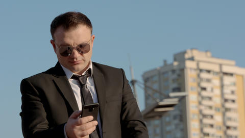 Successful Businessman Talking On Mobile Phone Footage