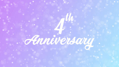 4th Anniversary Greeting card text with beautiful snow and stars particles Animation