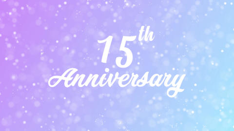15th Anniversary Greeting card text with beautiful snow and stars particles Animation