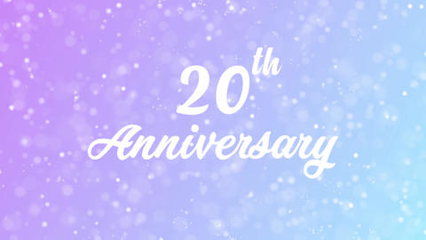 20th Anniversary Greeting card text with beautiful snow and stars particles Animation