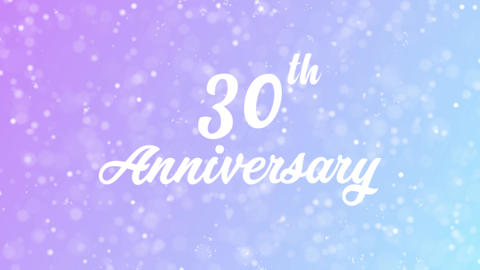 30th Anniversary Greeting card text with beautiful snow and stars particles Animation