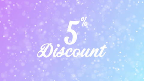 5% Discount Greeting card text with beautiful snow and stars particles Animation