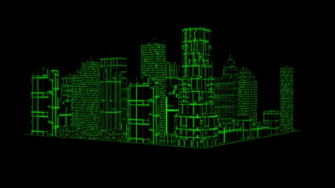 3D Green Tron Hologram City Loopable Motion Graphic Element Animation