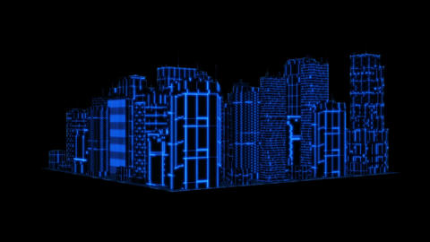 3D Blue Tron Hologram City Loopable Motion Graphic Element Animation