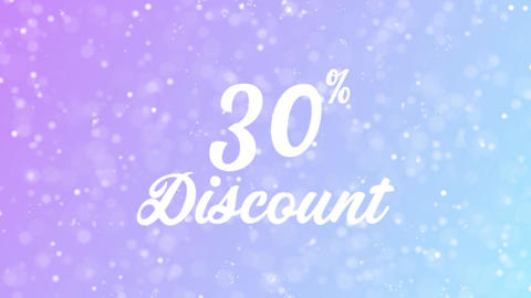30% Discount Greeting card text with beautiful snow and stars particles Animation