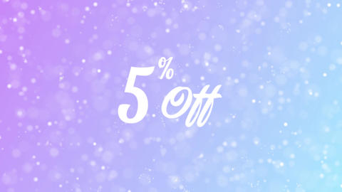 5% Off Greeting card text with beautiful snow and stars particles Animation