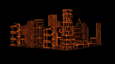 3D Gold Tron Hologram City Loopable Motion Graphic Element Animation