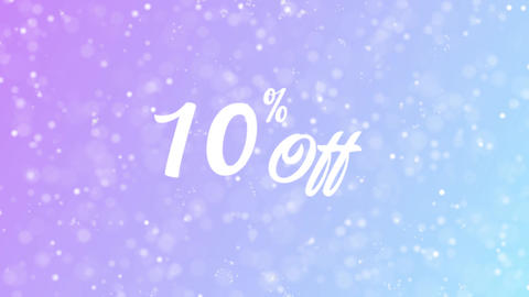 10% Off Greeting card text with beautiful snow and stars particles Animation