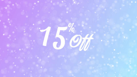 15% Off Greeting card text with beautiful snow and stars particles Animation