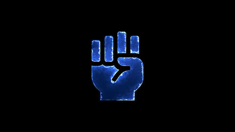 Symbol fist raised. Blue Electric Glow Storm. looped video. Alpha channel black Animation