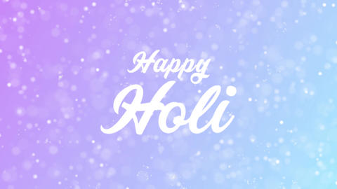 Happy Holi Greeting card text with beautiful snow and stars particles Animation