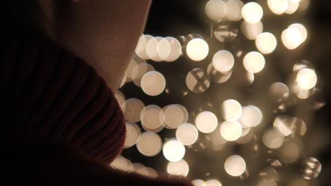 Woman Stand With Christmas Bokeh Lights GIF