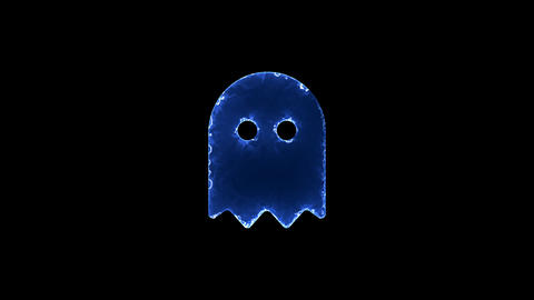 Symbol ghost. Blue Electric Glow Storm. looped video. Alpha channel black Animation